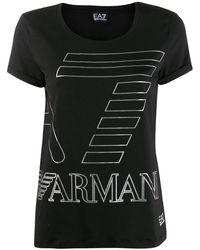 EA7 ロゴ Tシャツ - ブラック