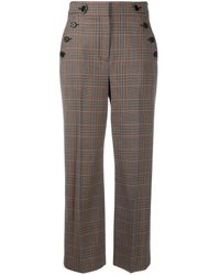 Veronica Beard Cropped Plaid Trousers - Brown
