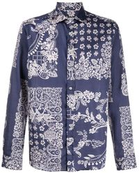 Etro Long-sleeved Paisley-print Shirt - Blue