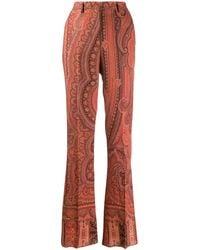 Etro Pantalones de talle alto con estampado de cachemira - Naranja