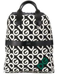 Dolce & Gabbana Mochila con logo DG y cordones - Negro