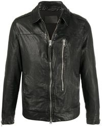 AllSaints ジップアップ レザージャケット - ブラック