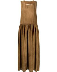 Uma Wang Robe à fronces - Marron