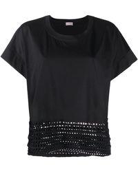 Mrz Crochet-detail Cap-sleeve T-shirt - Black