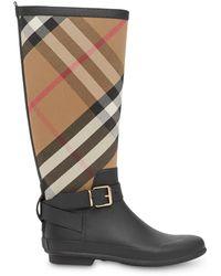 Burberry House Check Rubber Rain Boots - Black