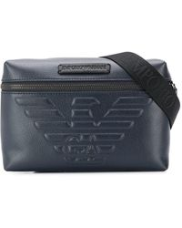 Emporio Armani Embossed Logo Crossbody Bag - Blue