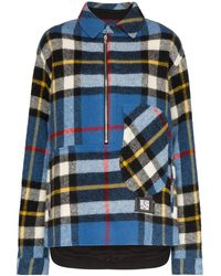 we11done Check Half-zip Shirt Jacket - Blue