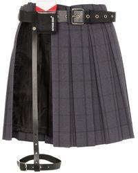 Hyein Seo Harness Panel Pleated Mini Skirt - Grey