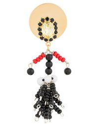 Marni Crystal Figure Brooch - Black