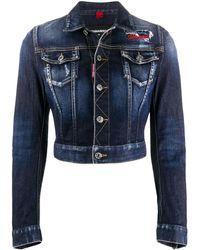 DSquared² Укороченная Джинсовая Куртка С Вышивкой - Синий