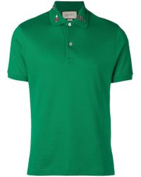 aa87e0b2ff1 Lyst - Gucci Monogram Polo Shirt in Blue for Men