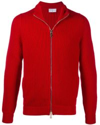 Fedeli Zip-through Ribbed Jumper - Red