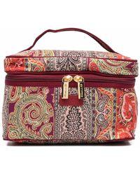 Etro Paisley-print Logo-patch Makeup Bag - Red