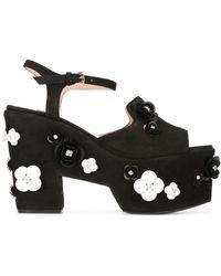 Boutique Moschino Embellished Platform Sandals - Black