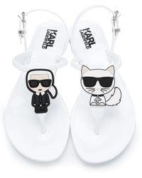 Karl Lagerfeld Karl Icon フラットサンダル - ホワイト