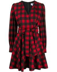 MSGM Клетчатое Платье С Запахом - Красный