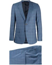 Paul Smith Checked Two Piece Suit - Blue
