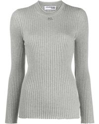 Courreges Logo-patch Long Sleeved Ribbed Top - Grey