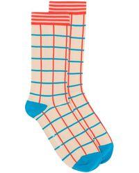 Henrik Vibskov Check Pattern Socks - Blauw