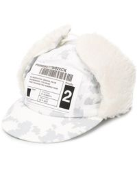 Neighborhood Delivery Label Print Textured Cap - White