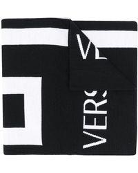 Versace Трикотажный Шарф С Узором Greca - Черный