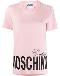 Moschino T-shirt Met Logo - Roze