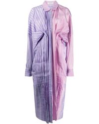 Nina Ricci Color Block Pleated Shirt Dress - Purple