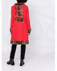 Moschino Однобортное Пальто С Леопардовым Принтом - Красный