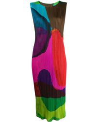 Pleats Please Issey Miyake Abstract-pattern Pleated Dress - Green