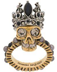 Alexander McQueen Anillo Queen Skull - Metálico