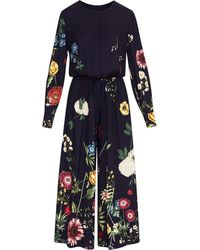 Oscar de la Renta Floral-print Drawstring-waist Jumpsuit - Black