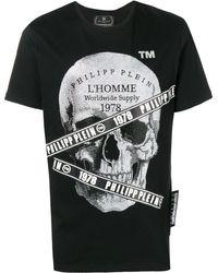 Philipp Plein T-Shirt mit Strass-Totenkopf - Schwarz