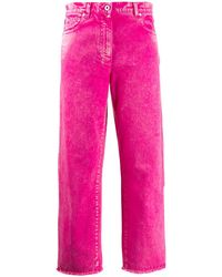 Cedric Charlier Fringed Cropped Jeans - Pink