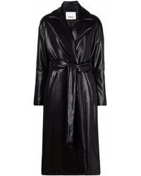 Erika Cavallini Semi Couture アニマルフリーレザー トレンチコート - ブラック