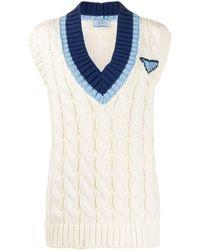 Prada Sleeveless Logo Sweater - Multicolor