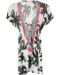 Brigitte Bardot Mono con estampado de palmeras y borlas - Blanco