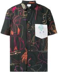 Paul Smith Camisa con siluetas estampadas - Negro