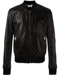 Dolce & Gabbana - Perforated Leather Bomber Jacket - Lyst