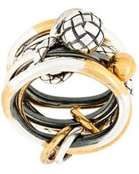 Bottega Veneta Engraved Ring - Metallic