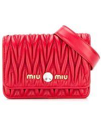 Miu Miu Matelassè Belt Bag - Red