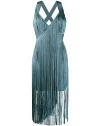 Hervé Léger Fringed Midi Dress - Blue
