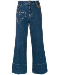 Stella McCartney - Stud Detail Cropped Flare Jeans - Lyst
