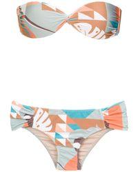 Adriana Degreas Bikini mit Bandeau-Top - Mehrfarbig
