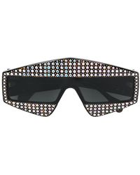 ffcde5bceac Gucci Oversize Crystal Square Sunglasses in Black - Lyst