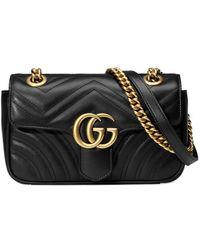 Gucci Стеганая Мини-сумка 'GG Marmont' - Черный