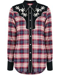 DSquared² Floral Embroidered Tartan Shirt - Blauw