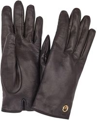 Fendi Leather Logo Gloves - Black