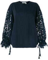 See By Chloé | Lace Sleeve Oversized Sweatshirt | Lyst