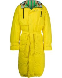 Versace Hooded Belted Raincoat - Yellow