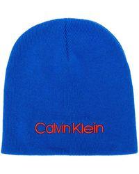 Calvin Klein Contrast Logo Embroidery Beanie - Blue